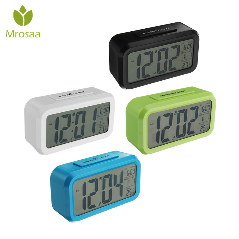Mrosaa Alarm Clock Large Digital LED clocks Nightlight Snooze Mute Calendar Table Clocks Desktop Electronic Desk Bell Reveil