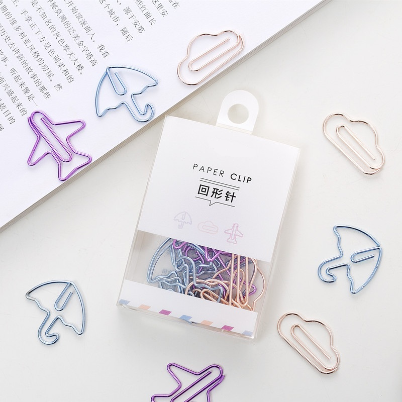 12pcs/box Electroplated Paper Clip Airplane Umbrella Cloud Shape Note Clips Kawaii Bookmark Office Shool Stationery Marking Clip