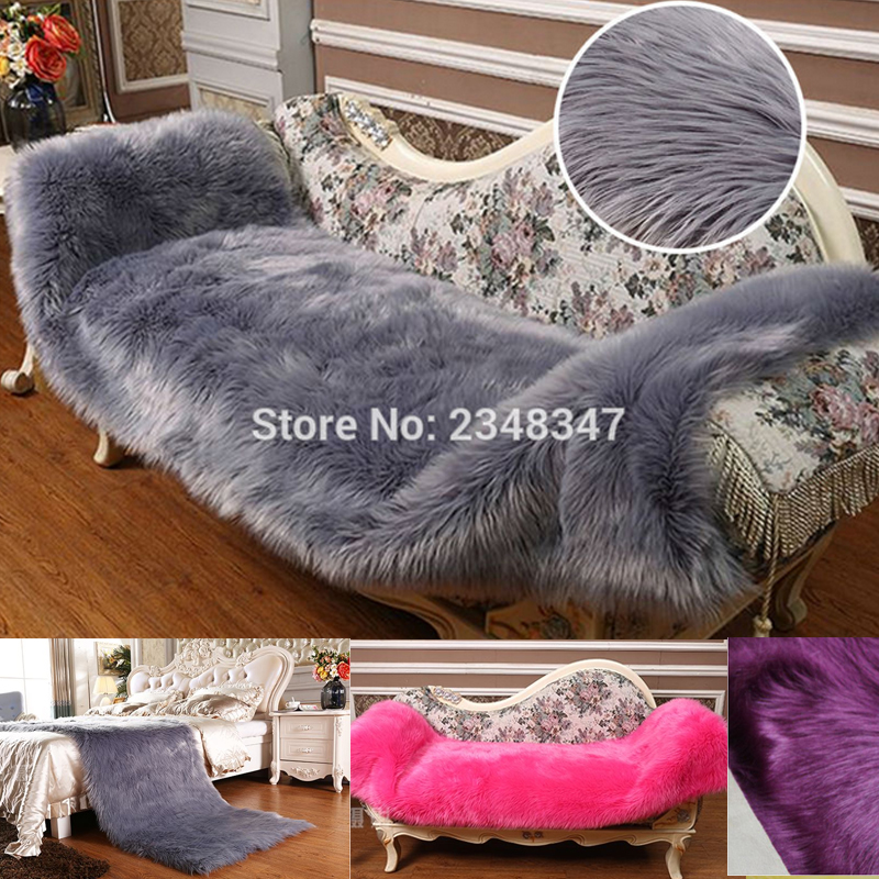 Awesome Long Fur Artificial Sheepskin Rectangle Fluffy Chair Seat Sofa Cover Carpet  Mat Area Rug Bedroom Home Decoration Gray Camel Pink In Carpet From Home ...