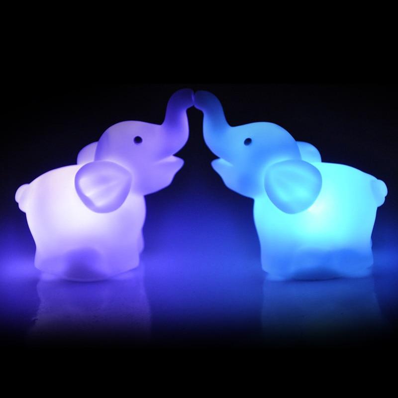 Child glow gift 2Pcs Elephant Color Changing LED Night Light Lamp Wedding Party Decor birthday present 2017 New fashion