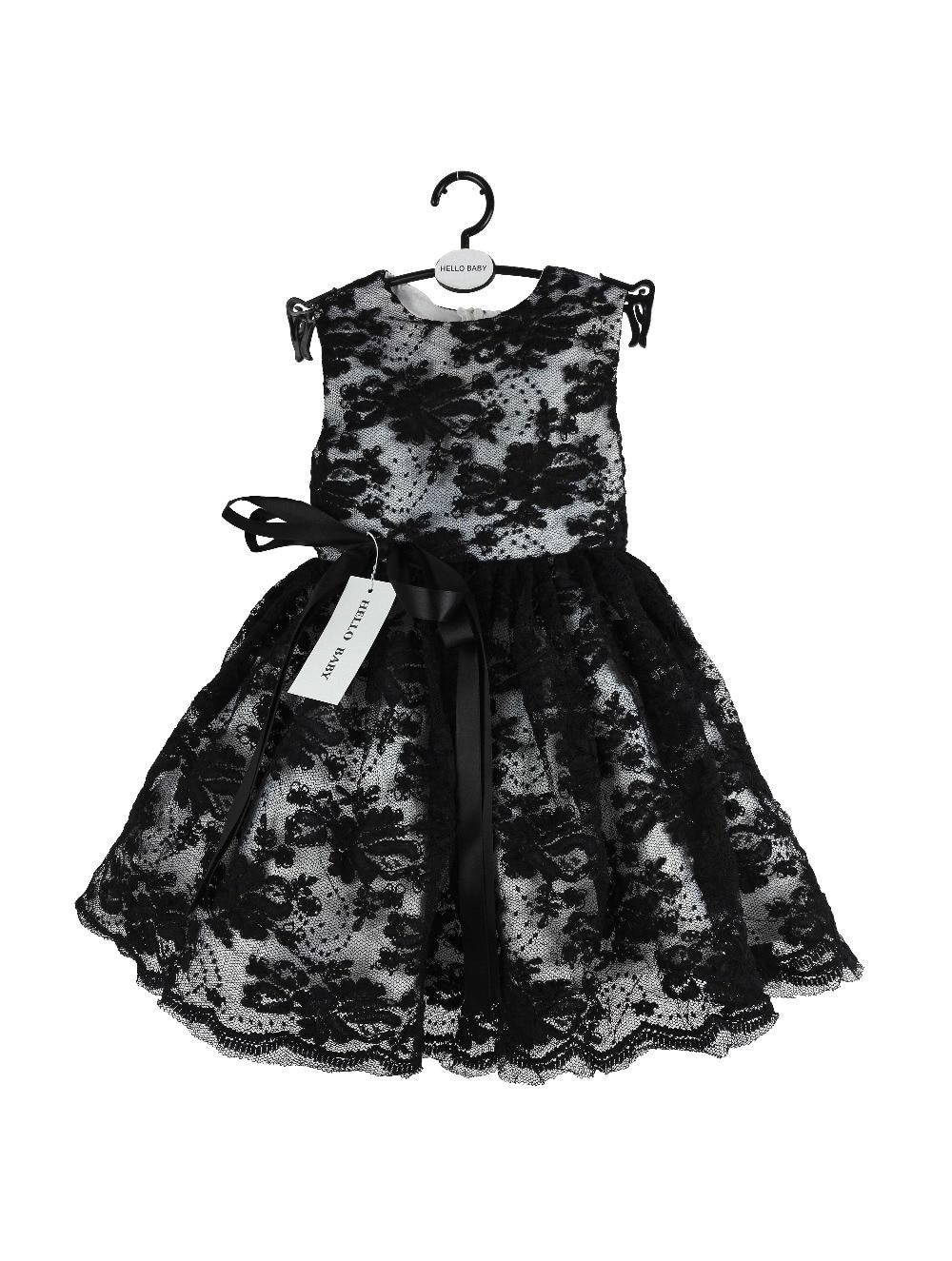2016 Nobility Lace 1 year girl baby birthday dress,Black summer style Vestidos for New born baby girls 1249