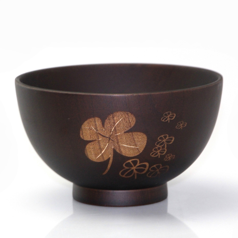 [Ship from US Ship by FBA Delivery time 2-3 days] Japanese Cuisine Jujube Wooden Bowl Handwork Carved Flower Clover shape