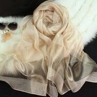 2017 novas mulheres lenço de seda 10 cor da moda costura preta ouro lenço de seda lenços de seda xales de algodão marca wj0120