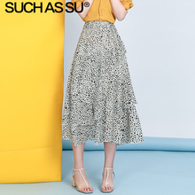 цена на New Chiffon Leopard Skirt Women Clothes 2019 Summer 4 Color Print Polka Dot Skirt Midi High Waist Ruffle Asymmetry Skirt Female