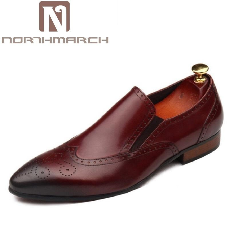 NORTHMARCH Luxury Brand Autumn Genuine Leather Men Wedding Brogue Shoes Man Office Formal Pointed Toe Dress Shoes sapato social new 2018 fashion men dress shoes genuine leather pointed toe male wedding shoes autumn men office formal shoes yj a0029