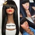 Бразильский девственные волосы прямо парики человеческих волос с челкой для чернокожих женщин фронта парики бесклеевое парик