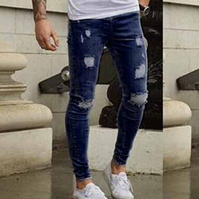 BORRUICE Brand Designer Skinny Jeans Men Slim Fit Ripped Denim Pants For Mens Distressed Streetwear Holes Washed Classic Jeans ...