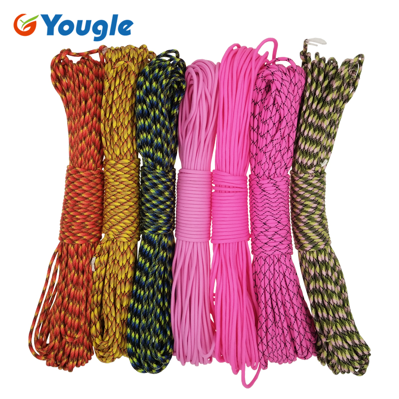 YOUGLE Paracord 550 Parachute Cord Lanyard Rope Mil Spec Type III 7 Strands 100FT 31m Camping survival equipment rope 53-59 yougle 550 paracord paracord parachute cord lanyard rope tent guyline mil spec type iii 7 strand core 50 100 ft 215 colors