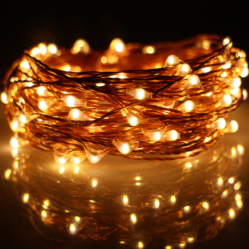 Led String Lights On Wire : Aliexpress.com : Buy Factory Sale Christmas 5M 50 Leds Copper Wire LED String Light 3 AA Battery ...