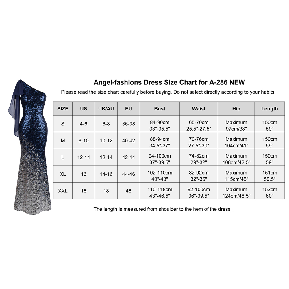 Angel-Fashions asymétrique ruban dégradé à Sequins sirène Robe de bal 286