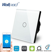 Control WIFI Interruptor táctil Wallpad 1 pandilla 1 manera interruptor de pared Panel de vidrio de cristal de casa inteligente Alexa Google Android IOS(China)