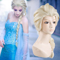 snow wig  elsa hair curly long synthetic cosplay Elsa anna princess micro braided wigs 70cm blonde white cartoon movies Qp hair