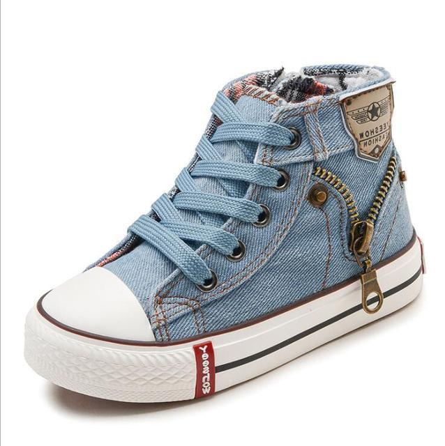 2018 Sonbahar Uzman Beceri Çocuk rahat ayakkabılar Erkek Kız spor ayakkabılar Nefes Denim Sneakers Çocuk kanvas ayakkabılar bebek çizmeleri