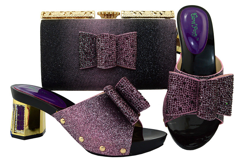 Low heel 2.1 inches african aso ebi dance purple shoes for old lady with matching clutches bag free shipping by DHL SB8082-3