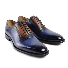 2017 hot Rushed Real Retro Custom Mens Oxford Shoes Fashion Weeding Party Dress Royal Blue Genuine Leather Original Design