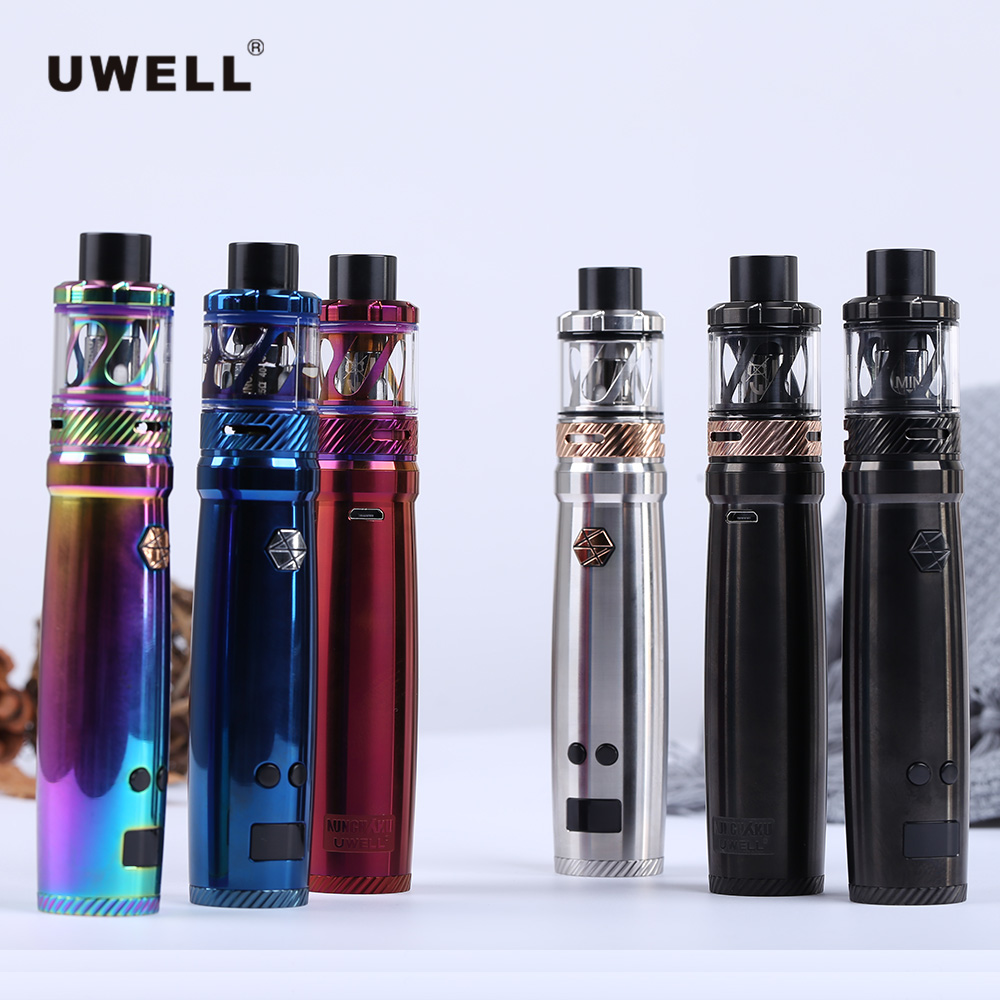 Original Uwell Nunchaku Tank Kit With 5ml Atomizer Electronic Cigarette Large cloud 80W Vaporizer Vape without 18650 battery 4pcs core gift original uwell nunchaku tank kit vape 5ml atomizer 80w box mod large cloud