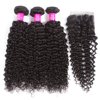 Queen Like Hair Products Malaysian Kinky Curly Hair With Closure Non Remy Hair Weave 3 4