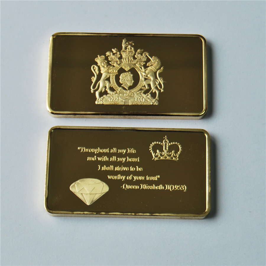50/100 pcs/lot, 1953 Queen Elizabeth II of England crown diamond gold bars, Non currency Coin, DHL Free shipping