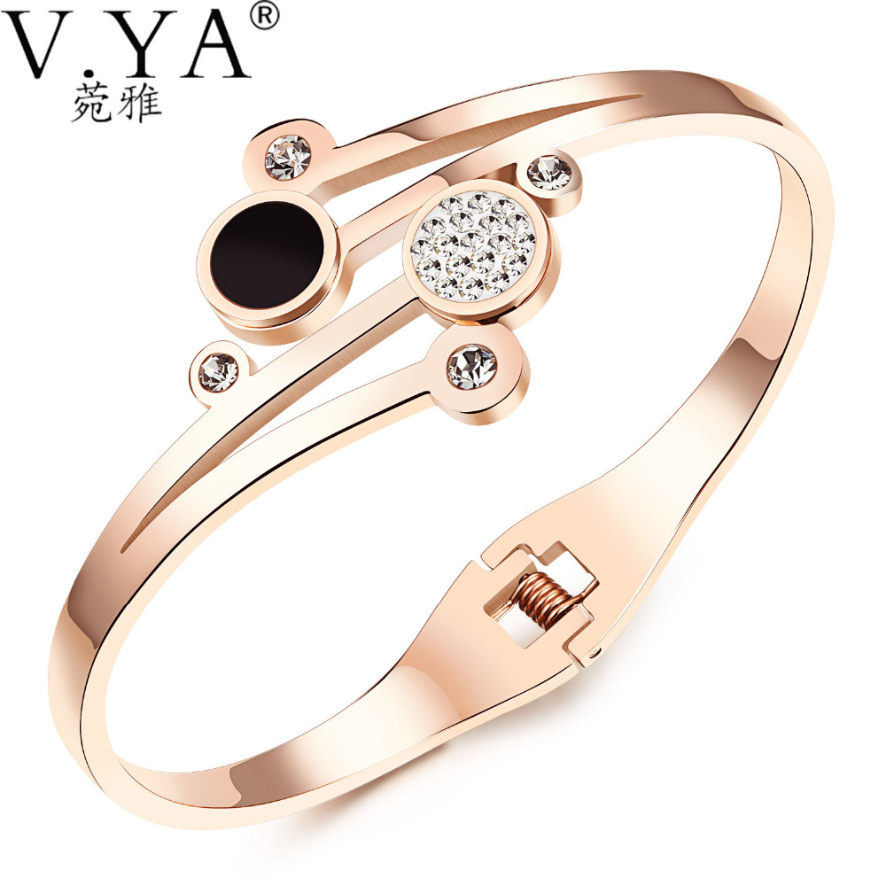 V.YA Women Bangle 2018 Fashion Pearl Jewelry Lady Luxury Brand Rose Gold Color Jewelry Bracelet Stainless Steel DropShipping dropshipping fashion stainless steel rose gold