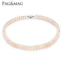 PAG и mag Марка 8-9 мм естественный пресноводный жемчуг Цепочки и ожерелья один Цепочки и ожерелья для Для женщин высокое Яркость жемчуг бисером цепочки и ожерелья оптовая продажа