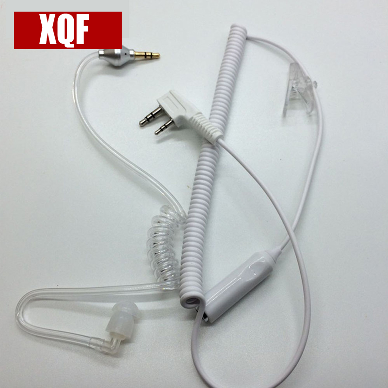 XQF 2 Pin Radio Headset PTT MIC Earpiece For Kenwood Baofeng UV-5R For TYT Two Way Radio Transparent Flexible Acoustic