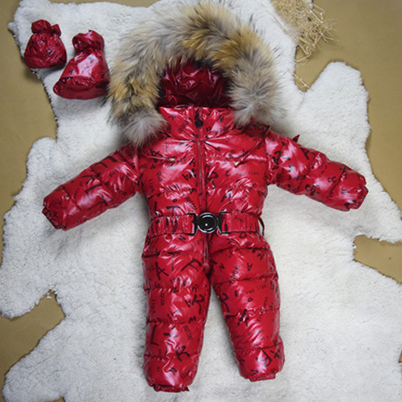 913cfd967 ⓪Baby Snowsuits Hooded Jumpsuit White Duck Down Jackets For Boys ...