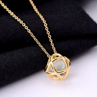 Colorful Crystal Stainless Steel Wire Wrapped Necklaces For Women Gold Plated Pendant Necklace Handmade Jewelry
