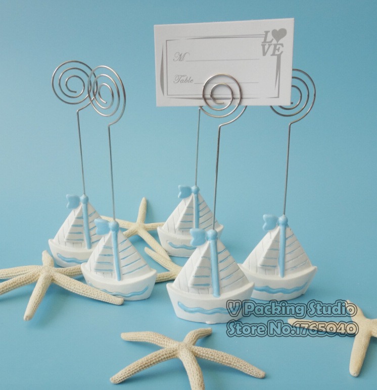 Sailing boat Card Holder Name Number Menu Table Place Card Holder Clip Wedding Baby Shower Party