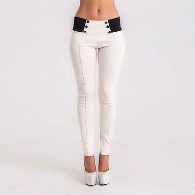 2019 New Fashion Botton Patchwork Pencil Pants Summer High Waist Slim Skinny Women Leggings Stretchy Pants Jeggings Pencil Pants