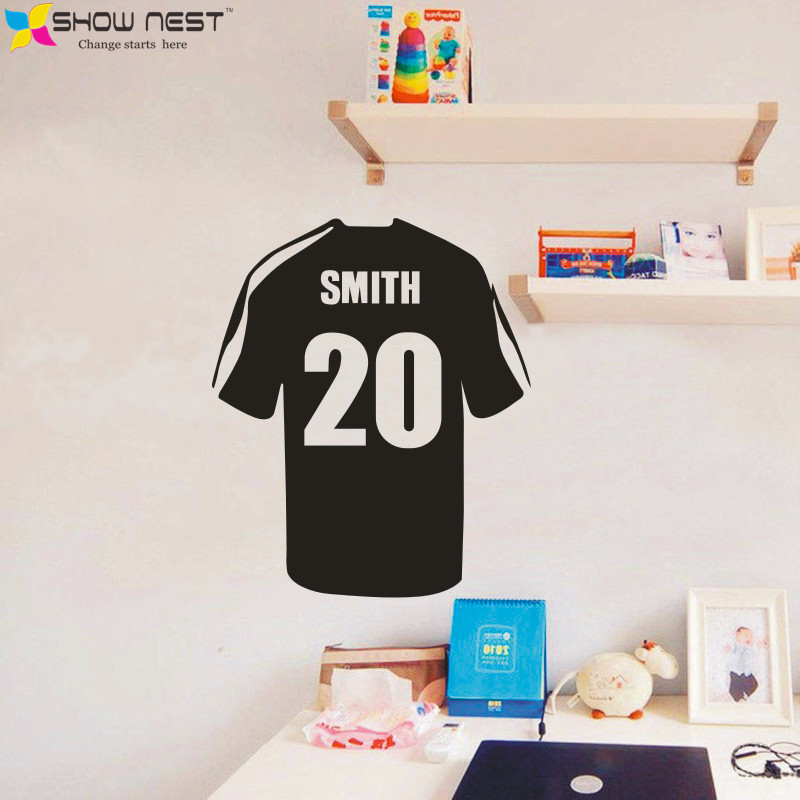 Customization Football T-shirt Art Wall Stickers Home Decor - Kids,Boys Bedroom Wall Mural - Custom Name And Number Wall Decals