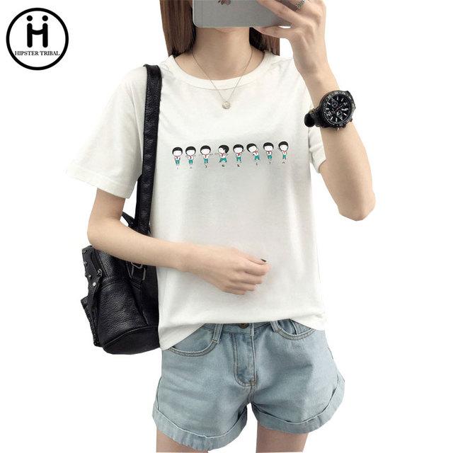 2017 Hipster Tribal Brand New Summer T Shirt Women  People Cartoon Printed Tshirt Women Tops Tee Shirt Femme Hot Sale Plus Size