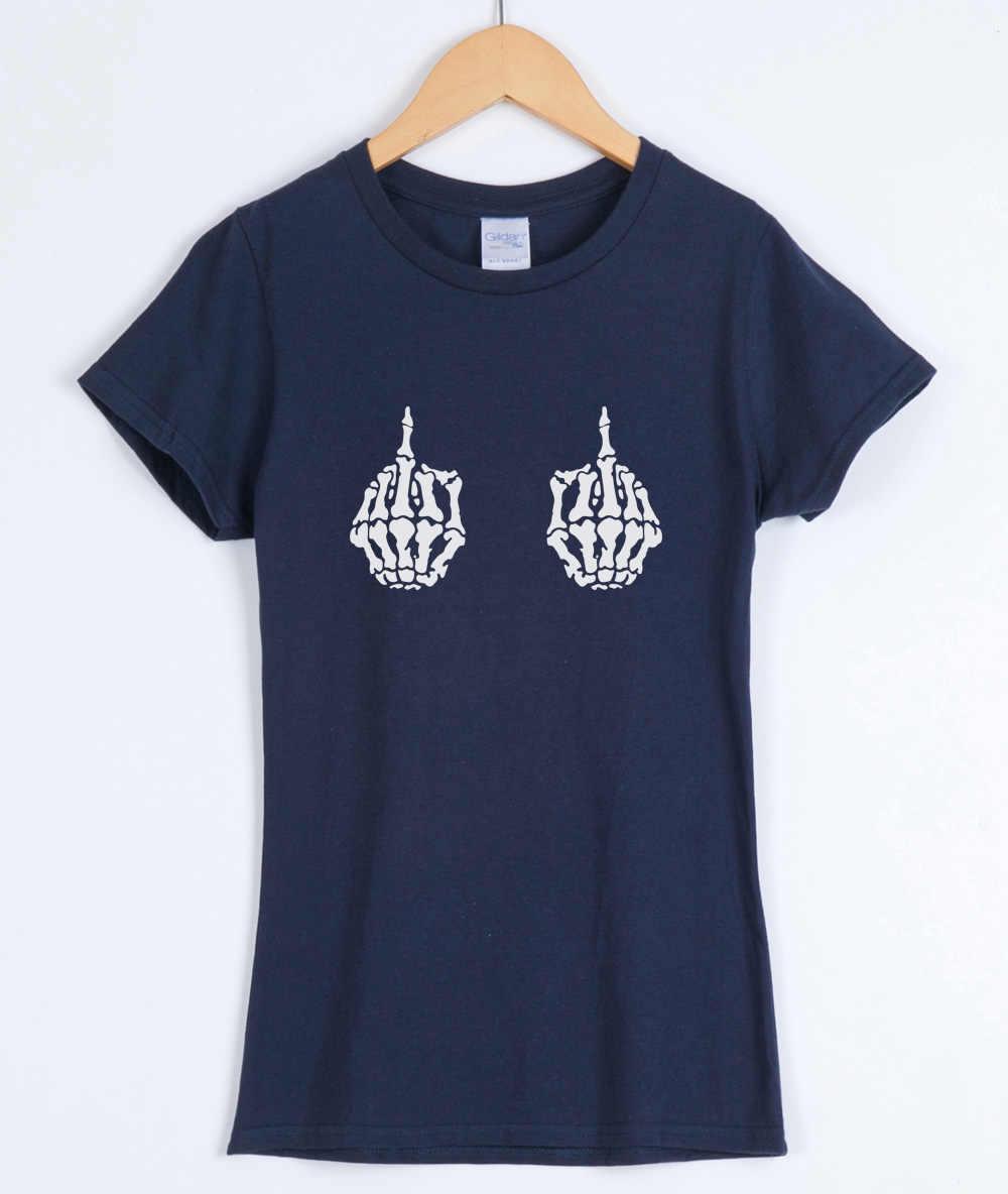 Высокое качество 2019 лето хлопок футболки tumblr женские оба скелета ручной печати Повседневная Женская Футболка Harajuku черная футболка Женские