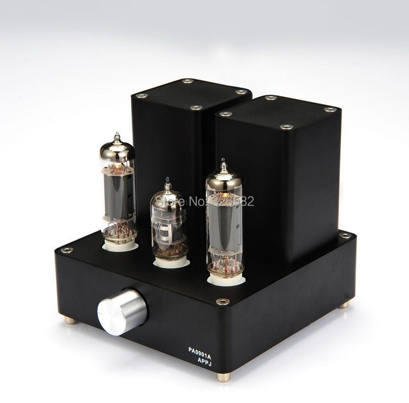 APPJ PA0901A 12AX7B EL84 MINI Stereo Tube Amplifier HIFI Desktop Valve Audio AMP Black 1PC brand new appj pa1601a vintage mini 6j1 6p4 tube amplifier desktop wifi usb sd card player 3w 3w silver