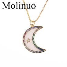2019 Molinuo Natural Shell Cresent Moon White pave colorful cz star Pendant Necklace for women