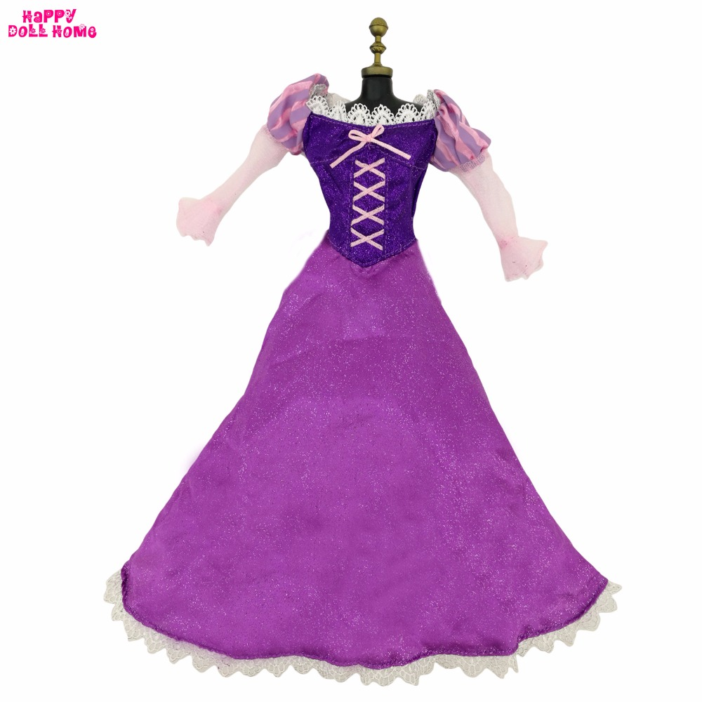 Handmade Princess Outfit Copy Rapunzel Costume Purple Long Dress Cosplay Clothes For 17 Doll Pretend Play Accessories Toy Gift american girl doll clothes halloween witch dress cosplay costume for 16 18 inches doll alexander dress doll accessories x 68