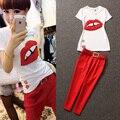 Frete Grátis 2016 Spring & Summer Fashion de Manga Curta T-Camisa Preta Ou Branca + HaremPants Mulheres Elegantes Vermelho ternos