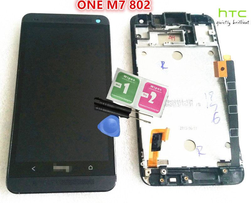 NEW Original ~ LCD Display+Touch Screen Digitizer with Front Frame FOR HTC One M7 Dual 802w black lcd screen display touch panel digitizer with frame for htc one m9 black or silver or gold free shipping