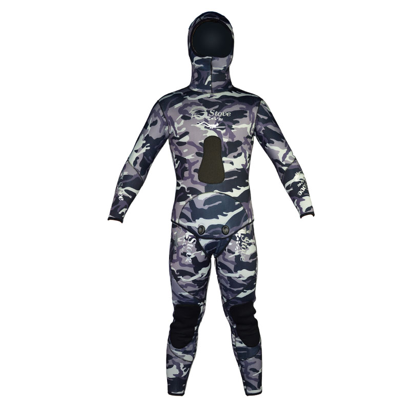 Layatone 9MM Neoprene Wetsuits Men Camouflage Spearfishing 2 Pieces Diving Suit Underwater Hunting Hooded Full Body