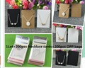 200PCS Paper Necklace/Pendent Cards+200PCS OPP Bags Kraft Pendent Card Brown Blank Jewelry Displays Cards Custom Logo Cost Extra