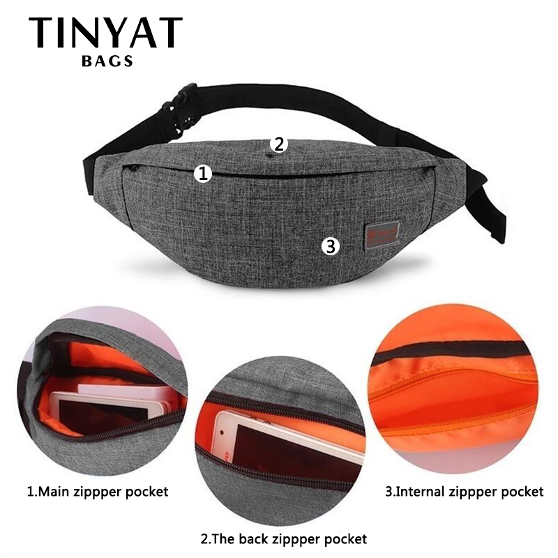Men Casual Functional Fanny Bag Waist Bag Money Phone Belt Bag with USB Gray Black Canvas Hip Bag Shoulder Belt Pac,1,