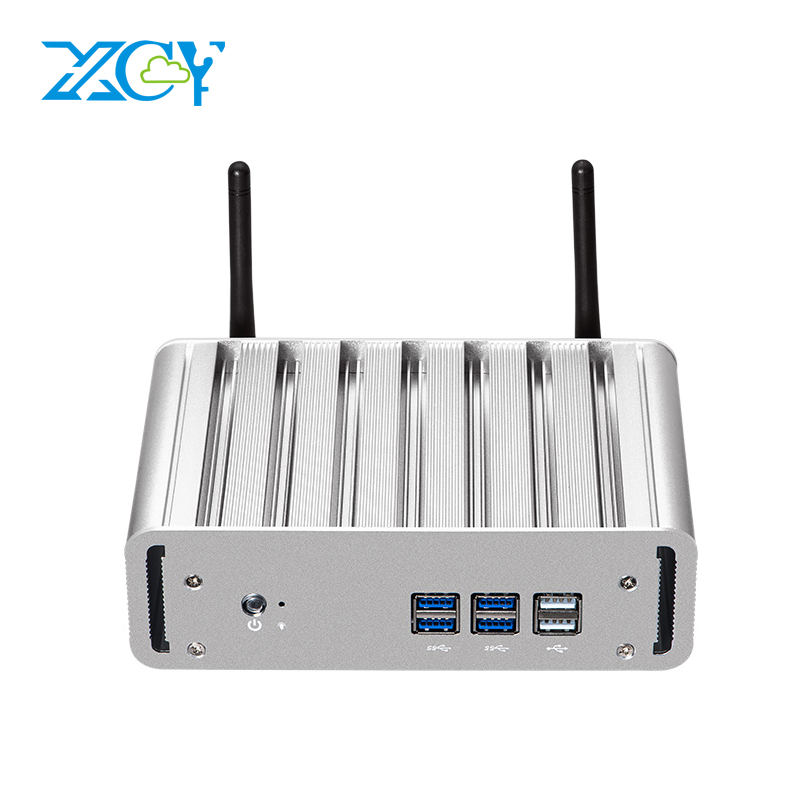XCY Mini PC Intel Core I7 7500U I5 7200U I3 7100U Windows 10 Compact Desktop PC 4K UHD HTPC HDMI VGA 6*USB WiFi Gigabit Ethernet