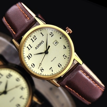 Retro men and women watch fashion couple of watch waterproof leather belt watch quartz watch calendar