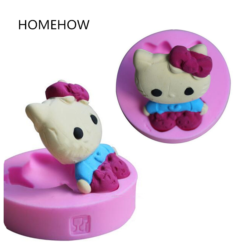 1PC / Lot Söt Hello Kitty Cake Silikon Mögel Fondant Choklad Candy Forms Harts Clay Soap Mold Kök Bakning Cake Tools