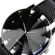 Sport Watch Men Women Stainless Steel Dial Leather Band Wrist