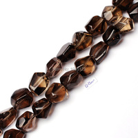 Free Shipping 12 14mm Natural Smooth Smoky Quartz Freeform Shape Loose Beads Strand 15 Jewellery Making