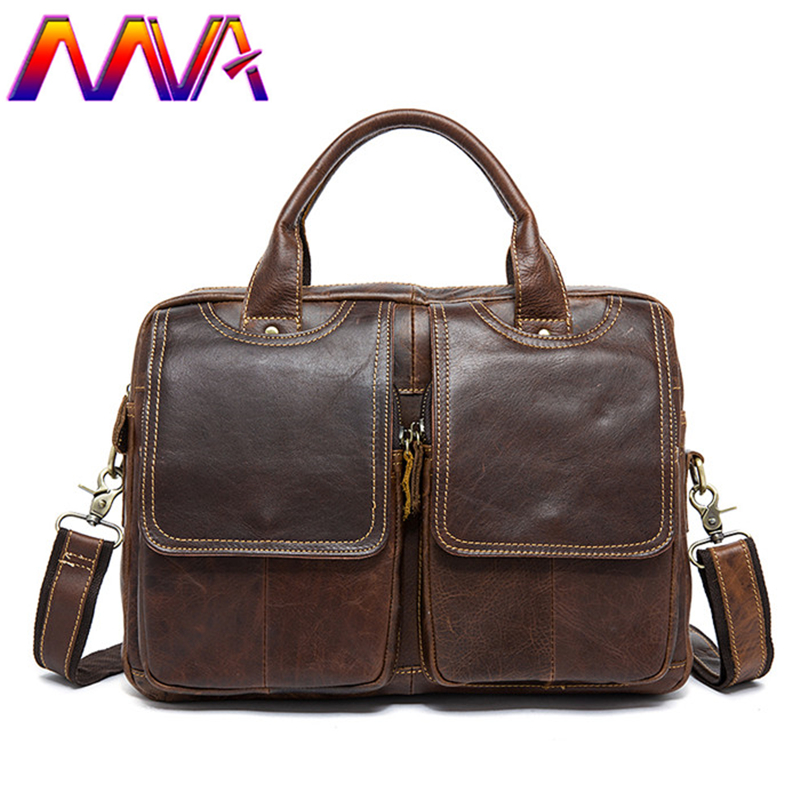 Mva Men Briefcase 100% Genuine Leather Men Briefcase 14 Inch Computer Shoulder Bag Laptop Bag Cheap Price Leather Men Briefcase стоимость