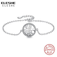 Solid 925 Sterling Silver Chain Link Friendship Bracelet Vintage Pine Tree Charms Bracelet For Women Authentic