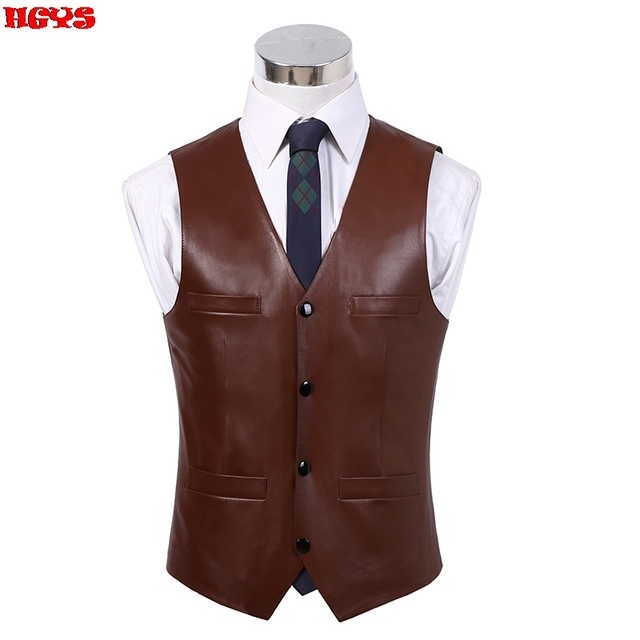 2017 male leather vest plus cotton v-neck four fashion vest bag