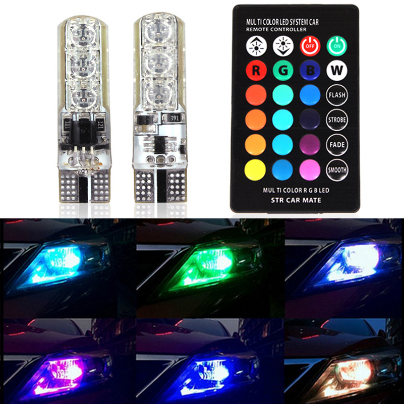 5050 SMD RGB LED T10 W5W Bulb Car Wedge Side Light Turn Signal Parking Light For Subaru Honda Nissan Mitsubishi Suzuki Infiniti