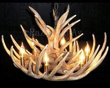 Artístico vintage cornamenta resina araña con 6 luces, material de resina, pulverización de pintura de proceso, americana rústica luz
